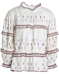 Étoile Isabel Marant - Ruffle-trimmed Embroidered Linen Blouse - Lyst