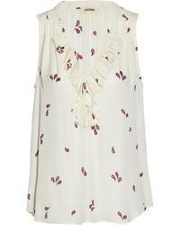 L'Agence - Natasha Ruffled Printed Silk Crepe De Chine Blouse - Lyst