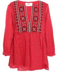 Ba&sh Aura Embroidered Metallic Cotton-blend Gauze Blouse Red