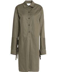 TOME - Satin-paneled Cutout Cotton-twill Shirt Dress Army Green - Lyst
