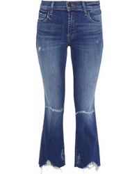 J Brand - Selena Cropped Distressed Mid-rise Bootcut Jeans Mid Denim - Lyst