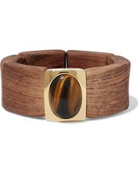 Kenneth Jay Lane - Gold Tone, Wood And Stone Bracelet - Lyst