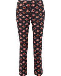 Prada - Printed Stretch-cotton Skinny Pants - Lyst