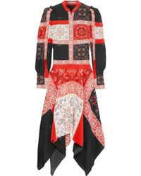 Alexander McQueen - Asymmetric Printed Silk Midi Dress - Lyst