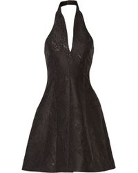 Halston - Metallic Jacquard Halterneck Mini Dress - Lyst