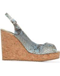 Jimmy Choo - Metallic Snake-effect Leather Wedge Sandals - Lyst