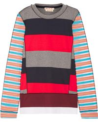 Marni - Mesh-paneled Striped Cotton-blend Jumper - Lyst
