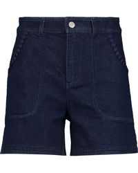 See By Chloé - Embroidered Denim Shorts Mid Denim - Lyst