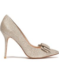 Lucy Choi - Bow-embellished Metallic Woven Court Shoes - Lyst