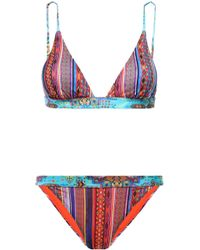 Matthew Williamson - Woman Printed Triangle Bikini Orange - Lyst