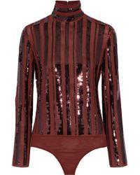 7f82ea67e3 Nina Ricci - Sequin-embellished Stretch-silk Turtleneck Bodysuit - Lyst