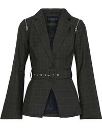 W118 by Walter Baker - Elsa Belted Checked Woven Blazer Army Green - Lyst
