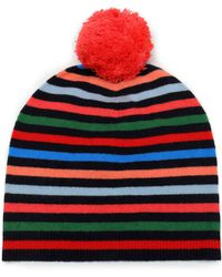 Chinti & Parker - Woman Pompom-embellished Striped Wool And Cashmere-blend Beanie Multicolour - Lyst