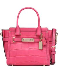 COACH - Croc-effect Leather Shoulder Bag - Lyst