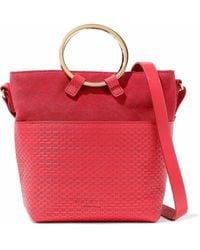 Halston - Nubuck-paneled Embossed Leather Shoulder Bag - Lyst