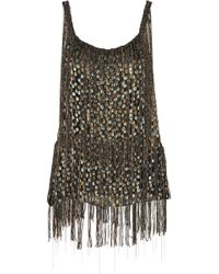 Elie Tahari - Jacobia Fringed Metallic Flocked Chiffon Top - Lyst