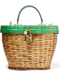 Dolce & Gabbana - Wicker And Printed Textured-leather Tote - Lyst