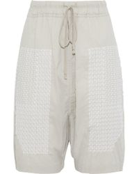 Rick Owens - Embroidered Cotton Shorts - Lyst