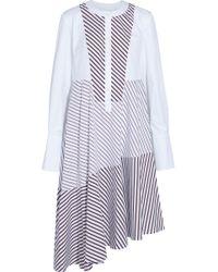 Carven - Asymmetric Panelled Striped Cotton-poplin Midi Dress - Lyst
