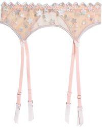 Mimi Holliday by Damaris - Embroidered Tulle Suspender Belt Peach - Lyst