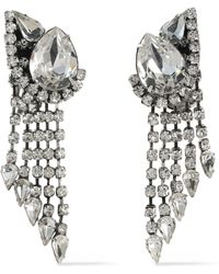 DANNIJO Kora Silver-tone Crystal Clip Earrings Silver