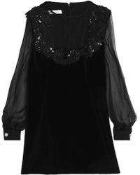 Zuhair Murad - Appliqued Chiffon-paneled Silk And Cotton-blend Velvet Mini Dress - Lyst
