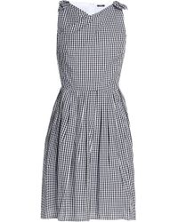 Raoul - Knotted Pleated Gingham Cotton-poplin Dress - Lyst