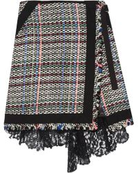 Sacai - Corded Lace And Twill-trimmed Tweed Wrap-effect Skirt - Lyst