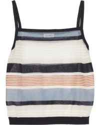 SUNO - Cropped Striped Cotton-blend Tank - Lyst