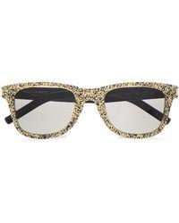 76f1ca8c184 Saint Laurent - Woman D-frame Glittered Acetate Sunglasses Gold - Lyst