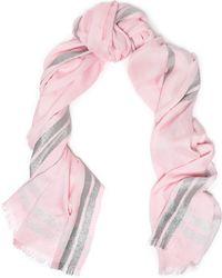 Claudie Pierlot - Metallic Knitted Scarf Baby Pink - Lyst