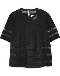 Alexis - Lace-paneled Pintucked Crepe De Chine Top - Lyst