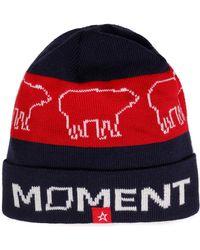 Perfect Moment - Woman Intarsia Merino Wool-blend Beanie Navy - Lyst