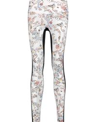 Lucas Hugh - Lima Panelled Printed Stretch-jersey Leggings - Lyst