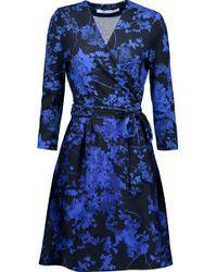 Diane von Furstenberg | Valerie Printed Wool And Silk-blend Wrap Dress | Lyst