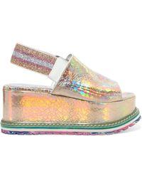 Sonia Rykiel | Iridescent Cracked-leather Platform Sandals | Lyst