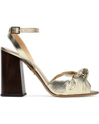 Charlotte Olympia - Knotted Lamé And Metallic Leather Sandals - Lyst