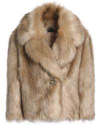 Jenny Packham - Woman Faux Fur Coat Beige - Lyst