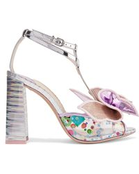 Sophia Webster - Lana Embellished Mirrored-leather And Pvc Sandals - Lyst