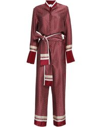 Victoria, Victoria Beckham - Woman Printed Silk-satin Jumpsuit Merlot - Lyst