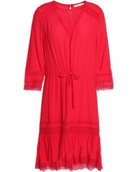 Maje - Ronsard Lace-trimmed Crepe Dress - Lyst