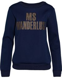 By Malene Birger - Woman Metallic Appliquéd Piqué Sweatshirt Indigo - Lyst