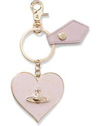 Vivienne Westwood Anglomania | Metallic Gold-tone Enamel And Leather Keychain | Lyst