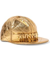 Moschino - Embellished Metallic Quilted Leather Cap - Lyst