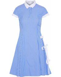 Sandy Liang - Altima Bow-detailed Striped Cotton-poplin Dress - Lyst