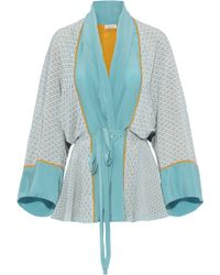 Talitha - Woman Printed Silk Crepe De Chine Kimono Turquoise - Lyst