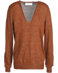 Vanessa Bruno Athé - Hanko Mélange Stretch-knit Jumper Light Brown - Lyst