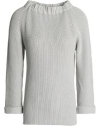 Goat Library - Gathered Ribbed Cotton Jumper Light Grey - Lyst