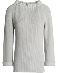 Goat Library - Woman Gathered Ribbed Cotton Sweater Light Gray - Lyst