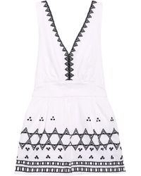 Maje - Embroidered Cotton-blend Playsuit - Lyst